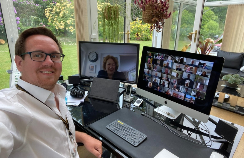 Photograph shows Conservative Councillor Richard Pears meeting virtually with the Conservative Group on 19 May during the time the Full Council would have taken place.